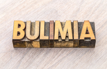 bulimia word abstract in wood type