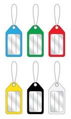 Set di targhette colorate portachiavi con etichetta