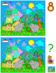 Logic puzzle game for young children. Need to find 8 differences. Developing skills for counting. Vector cartoon image.