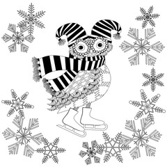 Monochrome cartoon owl in striped scarf, hat, skates in snowflex frame for coloring page anti stress, for print stock vector illustration