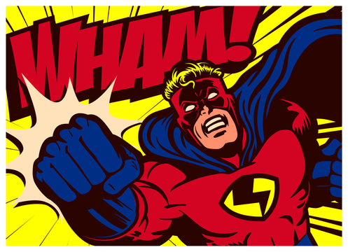 Pop art comics style superhero punching vector poster design wall decoration illustration