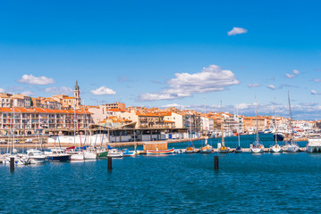 View of the harbor with yachts, Sete, France. Copy space for text.