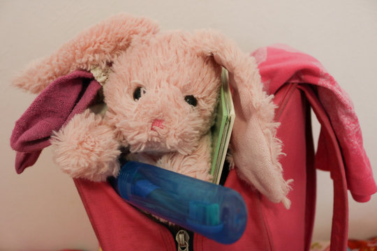 Close up of child's backpack ready for sleepover