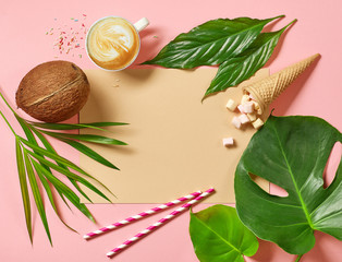 Wall Mural - holidays background with tropical leaves