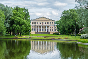 View of pond, park and Yusupov palace in Yusupov Garden