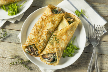 Savory Homemade Mushroom and Spinach Crepes