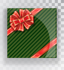 Gift Box. Green Christmas gift boxes isolated on a transparent background. Green box with a colorful elegant bow. Realistic vector object isolated