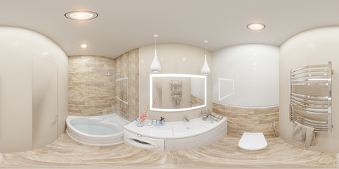 3d illustration spherical 360 degrees, seamless panorama of bathroom interior design in modern style. Interior Render for simulating virtual reality