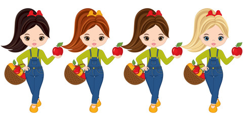 Vector Cute Little Girls with Baskets of Apples