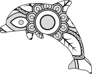 Vector illustration of a mandala dolphin silhouette