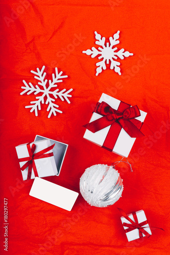Christmas Presents In Decorative White Boxes With Red Ribbons On The