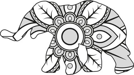 Vector illustration of a mandala elephant silhouette