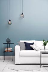 Modern room design with white sofa