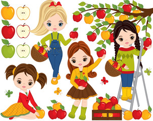 Vector Cute Little Girls Picking Apples in Orchard
