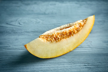 Ripe melon on wooden table