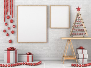 Mock up blank wooden picture frame, Christmas decoration and gifts 3D