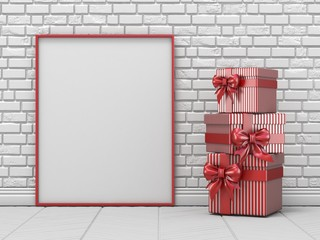 Mock up blank picture frame, Christmas decoration and striped gifts 3D
