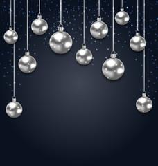 Christmas Silver Glassy Balls on Magic Dark Background