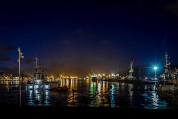 Industrial river port in the night, Asturias, Aviles