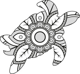 Vector illustration of a mandala turtle silhouette