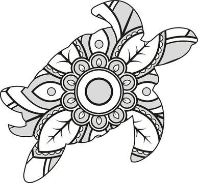 Vector illustration of a mandala turtle silhouette