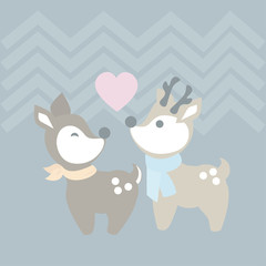 Cute reindeer couple. Lovely simple flat drawing vector background.
