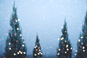Blurred of Christmas tree and light bokeh with snowfall on sky background in winter. vintage color tone and rustic style.