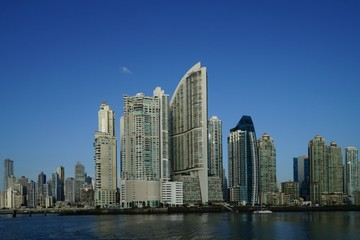 Early morning view of Panama City skyscrapers, Panama