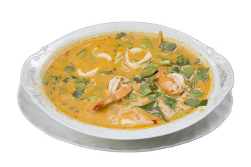 Thai food called Tom yum goong seafood recipe or Thai Seafood Spicy Soup