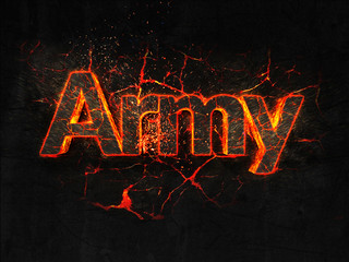 Army Fire text flame burning hot lava explosion background.