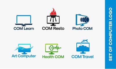 Computer learn logo, Computer Restaurant logo, Photography computer, Art Computer, Health computer, Computer Travel, Online Travel Agency logo designs vector