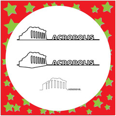 Parthenon on the Acropolis in Athens, Greece vector illustration outline black line with text, isolated on circle white background with stars.