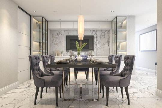 3d rendering dining set in modern luxury dining room