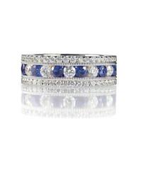 Sapphire and diamond wedding anniversary band isolated on white