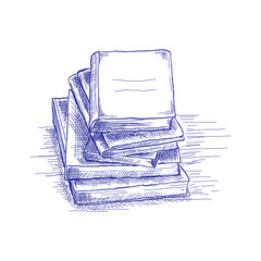 A stack of books. The concept of education. Back to school. Hand drawn sketch. Vector illustration.