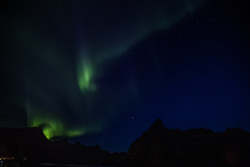 Northern lights in Reine, Lofoten islands, Norway