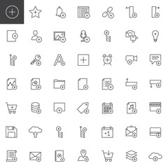 Add applications with plus sign line icons set, outline vector symbol collection, linear style pictogram pack. Signs, logo illustration. Set includes icons as user, plus, file, document, link, save