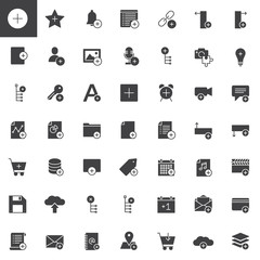 Add applications with plus sign vector icons set, modern solid symbol collection, filled style pictogram pack. Signs, logo illustration. Set includes icons as user, plus, file, document, link, save