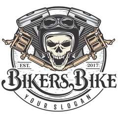 biker skull design with motorcycle engine and tattoo