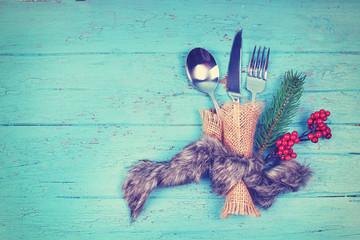festliches Besteck für das Weihnachtsfest