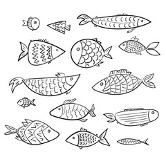 Set of cartoon kids vector outline fishes. Stylized digital hand drawn linear decorated aquarium or river fish for children color book, stickers