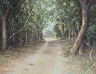 Original oil painting on canvas - Lane of sun-dappled tall trees arched in the shade next to country dirt road in South Africa with sunlight in the distance