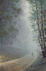 Original oil painting on canvas - Country lane of misty morning tall trees and poplars in South Africa with lonely figure walking down dirt road