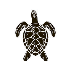 black sea turtle icon isolated on white background