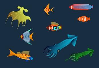 Deep water marine life vector set