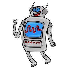 funny cartoon robot character design.vector illustration