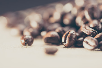 Preparing coffee close up. Photo filtered in vintage style.
