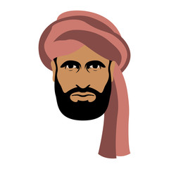 arab man face in turban vector illustration flat