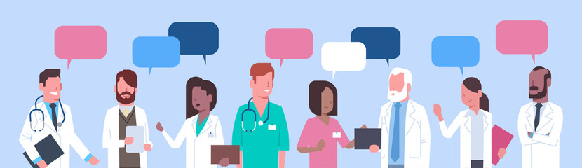 Group Of Medical Doctors Standing Chat Bubble Treatment Social Network Concept Flat Vector Illustration