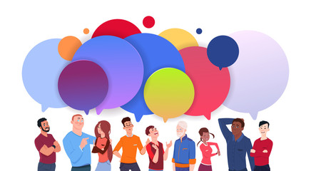 Group Of Diverse People With Colorful Chat Bubbles Cartoon Men And Women Social Media Communication Concept Flat Vector Illustration